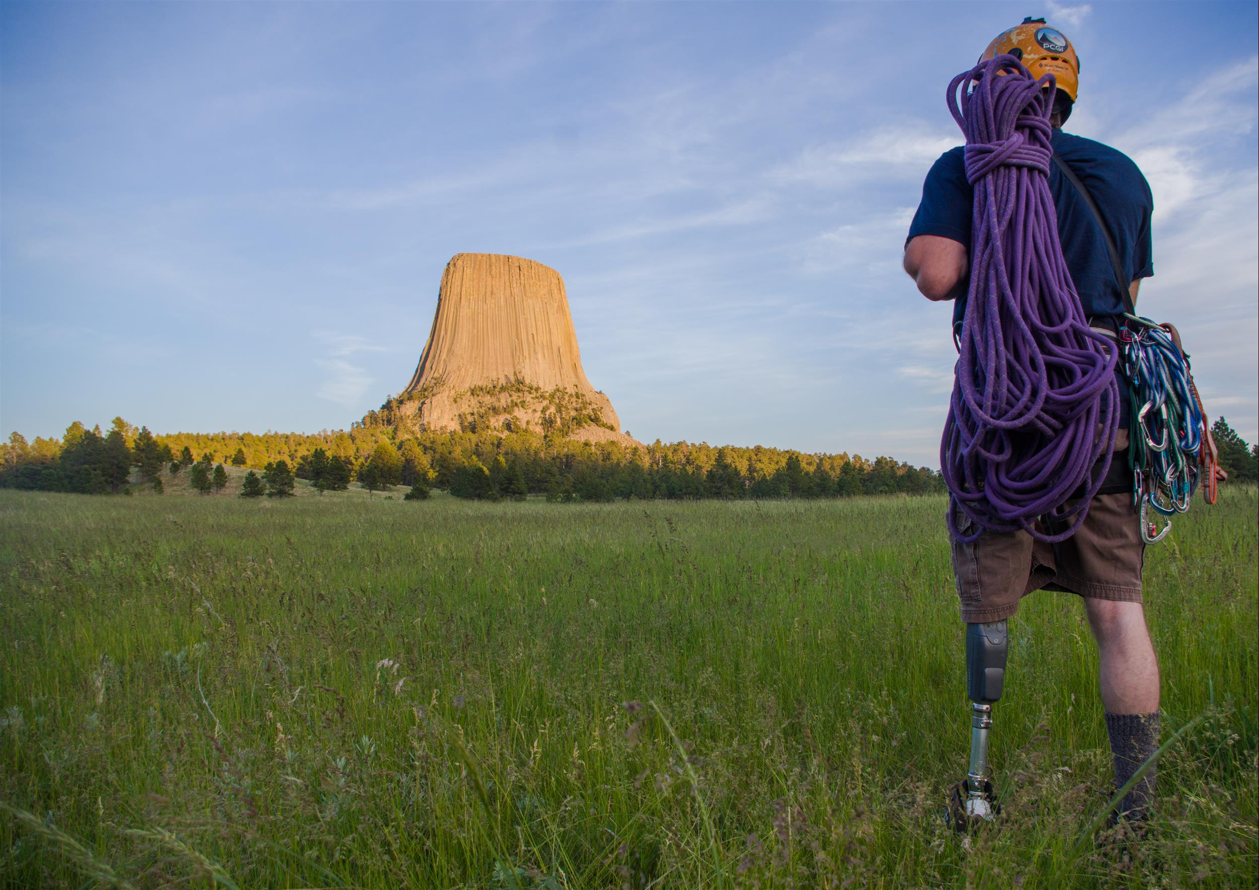 Climber Dave gazes on Devils Tower